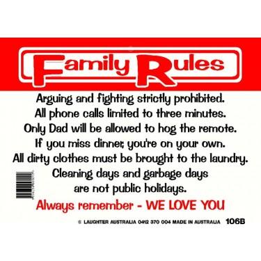 Fun Sign 106b - Family rules
