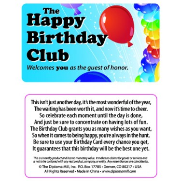 Pocket Card PC001 - The Happy Birthday Club
