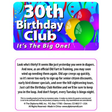 Pocket Card PC006 - 30th birthday club