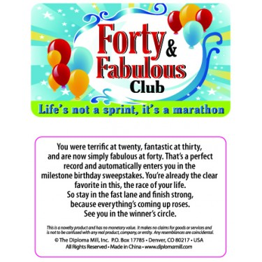 Pocket Card PC007 - 40 and fabulous club