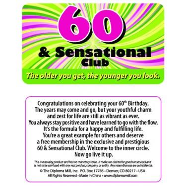 Pocket Card PC009 - 60 and sensational club