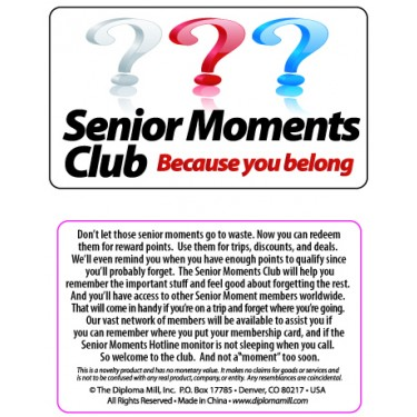 Pocket Card PC017 - Senior moments club