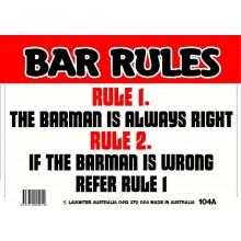 Fun Sign 104a - Bar Rules