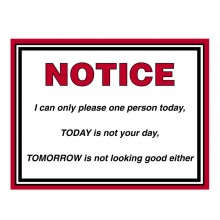 Fridge Magnet 719 -  NOTICE. I can only please one person today